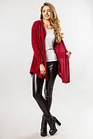 Стильный женский кардиган с капюшоном без застежки темно-красный
