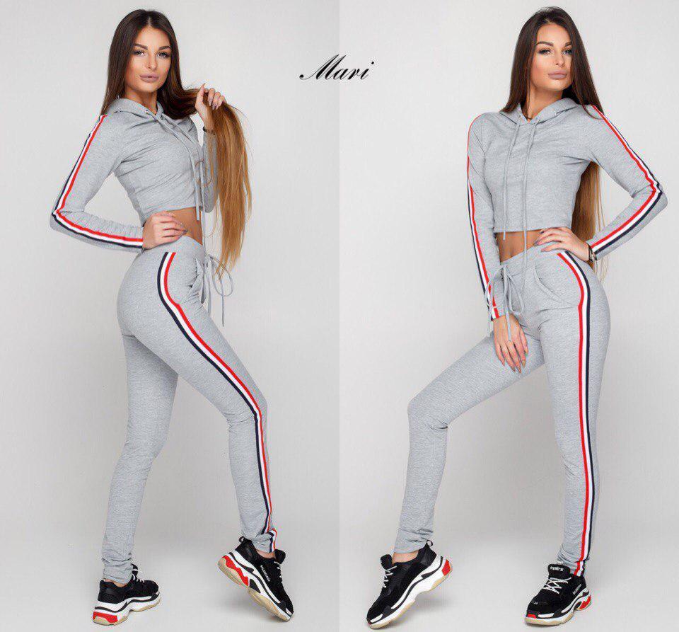 Модный женский спортивный костюм (трикотаж двунитка, брюки с завышенной  талией + кофта-топ 79f4f9c6a0c