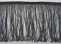 Бахрома танцювальна чорна з срібним люрексом (лапша, локшина)для одягу 15 см, тасьма 1 см, довжина ниток 14 см, фото 1