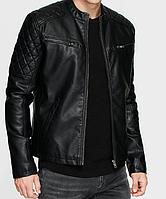СТЕГАННАЯ. Кожаная куртка мужская. Стеганная. Кожанная куртка мужская. Черная. Весна Осень. Деми