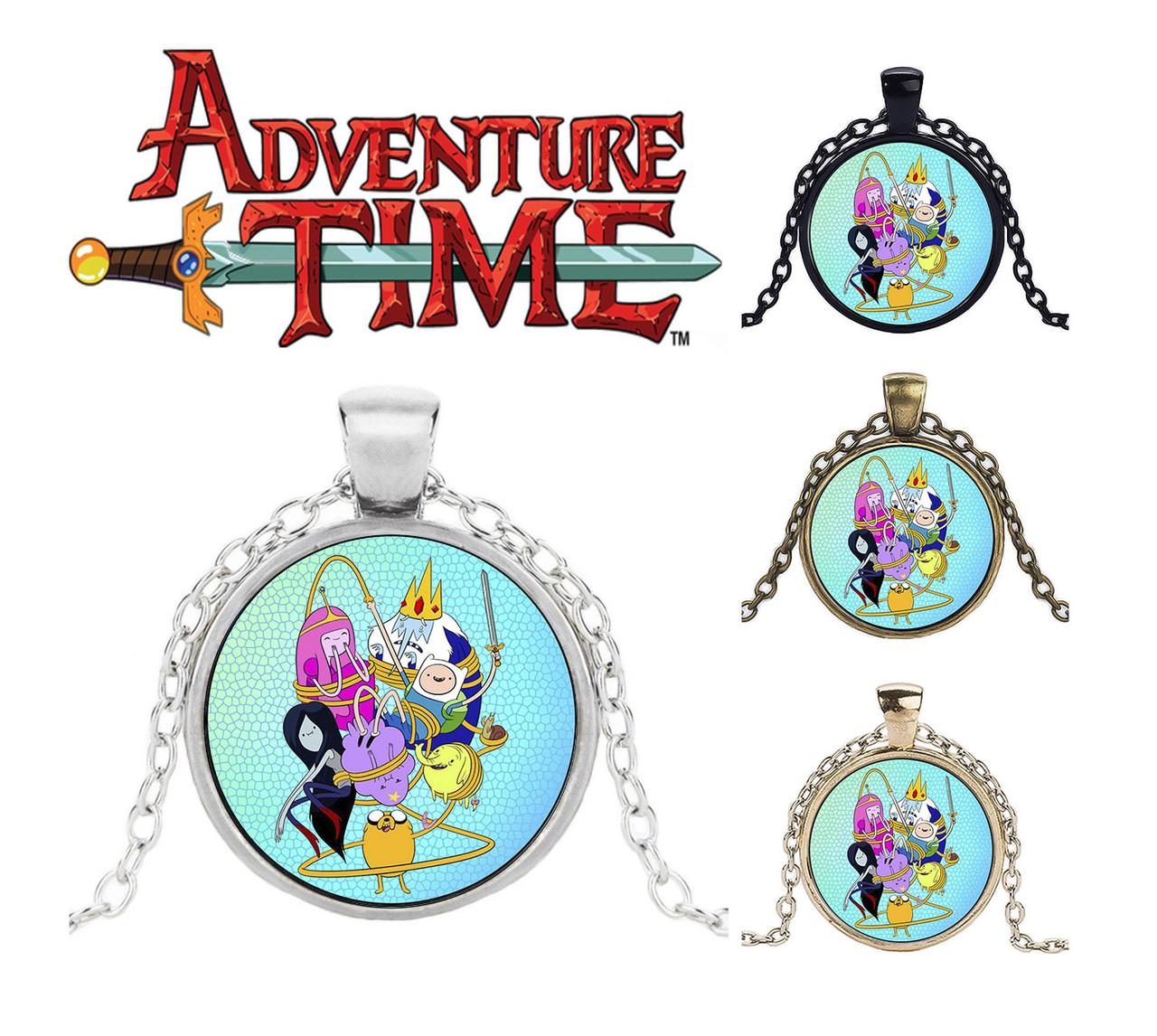 Кулон Adventure time Время приключений на голубом фоне