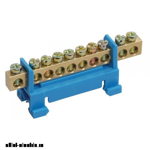 Шина N ноль на DIN-изол тип Стойка ШНИ-6х9-8-Синий