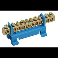 Шина N нуль на DIN-ізол тип Стійка СТАЙНІ-6х9-8-Синій