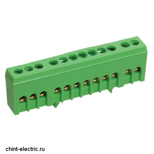 Шина PE земля в корп изол на DIN-рейку ШНИ-6х9-12-К-Зеленый