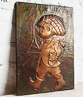 """Антикварні карбування -картина """"Хлопчик у Парижі"""""""