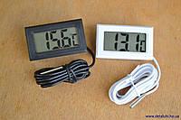 Цифровой термометр с ЖК дисплеем от -50 до +110 градусов черный