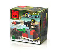 Детский развивающий конструктор игрушка Brick (Брик) 828 Артиллерист, 18 деталей, конструктор лего-типа