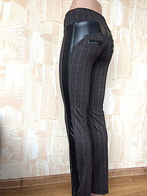 Лосины женские Полоска с вставками из кожзама р 42-50