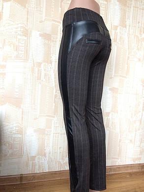 Лосины женские Полоска  м 716-2 вставками из кожзама р 42-50, фото 2