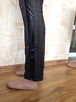 Лосины женские Полоска  м 716-2 вставками из кожзама р 42-50, фото 3