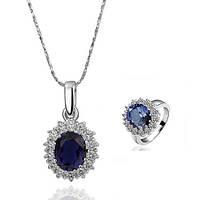 Комплект бижутерии (кулон с цепочкой + кольцо) с синим камнем в позолоте Принцесса Диана 156032