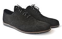 Легкі туфлі нубук чорні комфортне чоловіче взуття на танкетці Rosso Avangard Breakage VEL