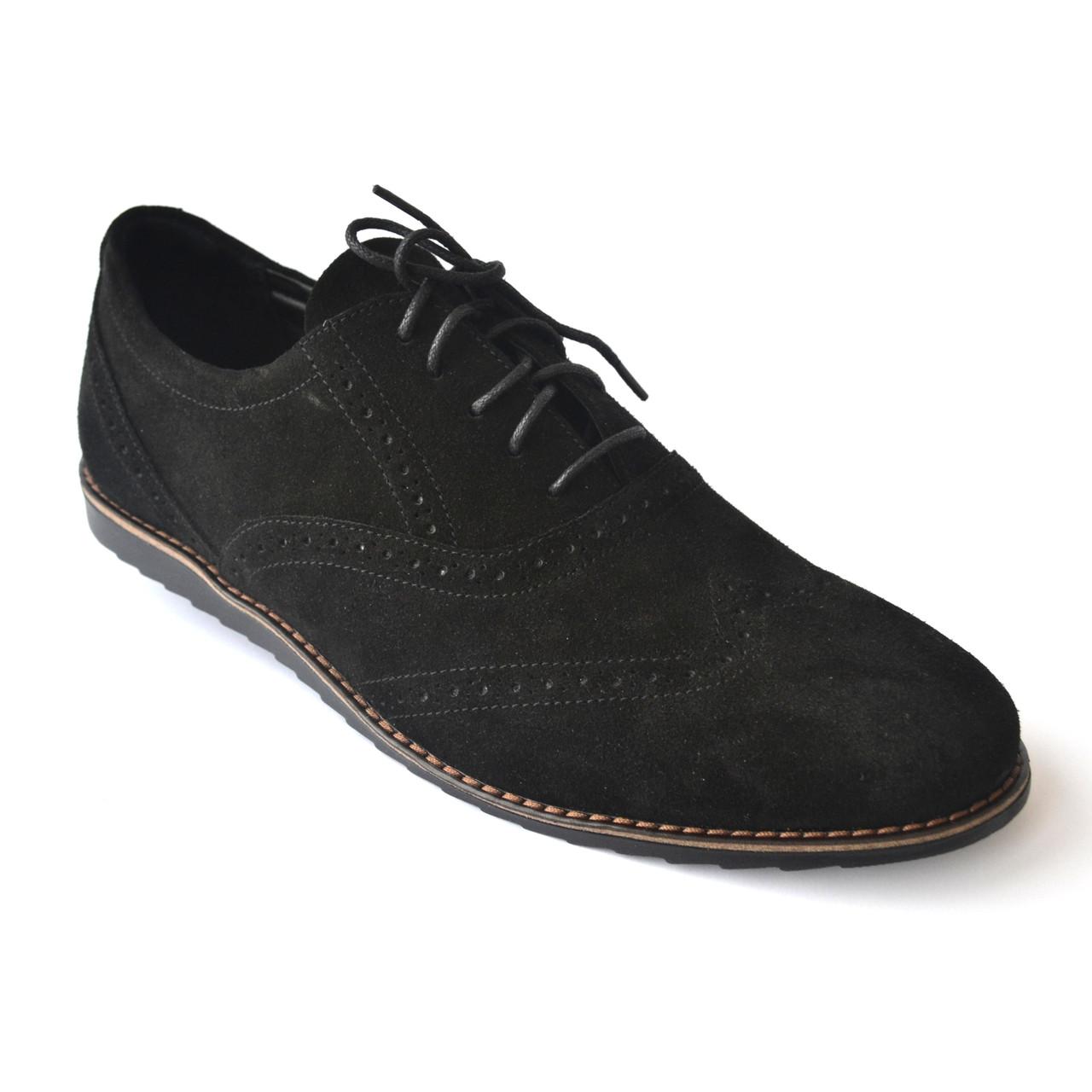 Легкие броги туфли мужские замш Rosso Avangard Breakage VEL черные