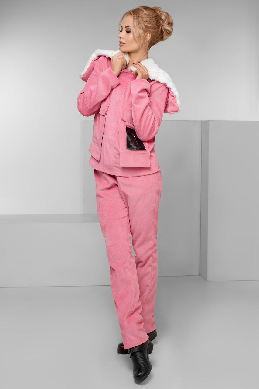 """Теплый женский вельветовый костюм """"MUTON"""" с капюшоном и накладными карманами (большие размеры)"""