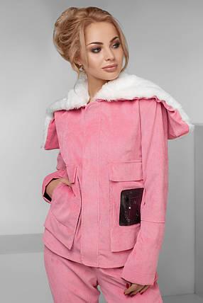 """Теплый женский вельветовый костюм """"MUTON"""" с капюшоном и накладными карманами (большие размеры), фото 2"""
