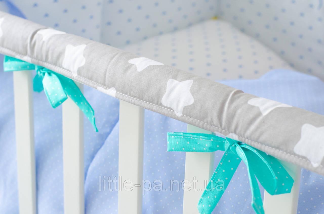 """Защита для кроватки из хлопка """"Звёзды с мятой"""""""