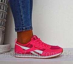 Кроссовки женские розовые Reebok сетка реплика, фото 2