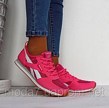 Кроссовки женские розовые Reebok сетка реплика, фото 3