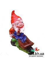 Садово парковая фигура, скульптура для сада Гном с тележкой (М)