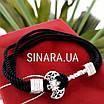 Браслет чёрный шнурок и серебро 925 пробы Секира - Мужской браслет с Секирой серебро 925, фото 3