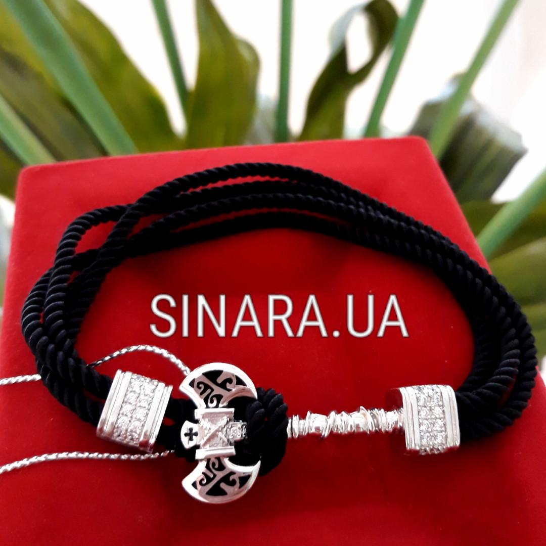 Браслет чёрный шнурок и серебро 925 пробы Секира - Мужской браслет с Секирой серебро 925