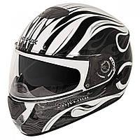 """Шлем-интеграл Hawk GLD-807 с черно белым принтом """"Адское пламя"""""""