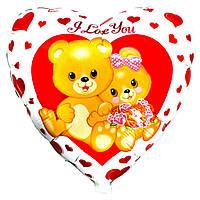 """Фольгированные шары с рисунком 18"""" Медвежата с цветами FlexMetal"""