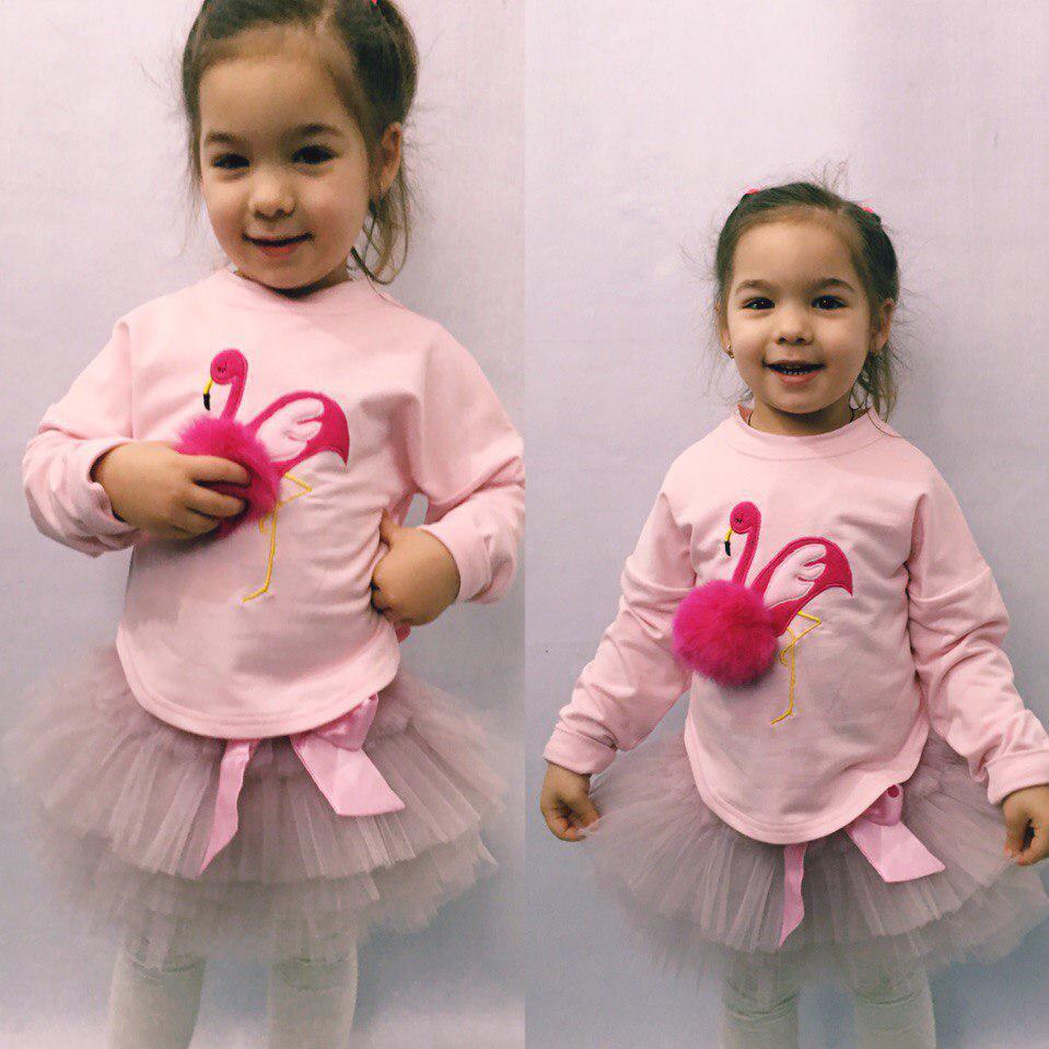"""Детский нарядный костюм для девочки """"Фламинго"""" с фатиновой юбкой (3 цвета)"""