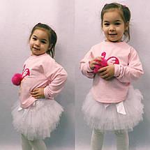 """Детский нарядный костюм для девочки """"Фламинго"""" с фатиновой юбкой (3 цвета), фото 2"""