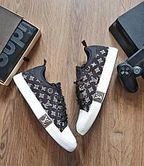 Мужские  кеды  Louis Vuitton  луис витон кеды черные -Текстиль,подошва резина размеры:41-44