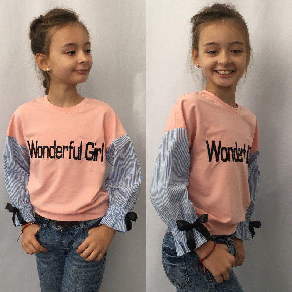 """Детский трикотажный свитшот для девочки """"Wonderful Girl"""" с вышивкой"""