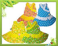 Платье детское с яркого кулира, отделка -рюши с жатки.