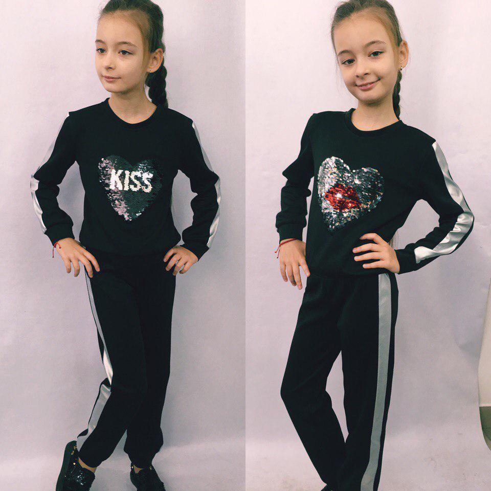 """Детский спортивный костюм для девочки """"KISS"""" с пайетками"""