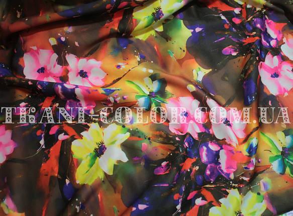 Трикотаж дайвінг принт квіти, фото 2