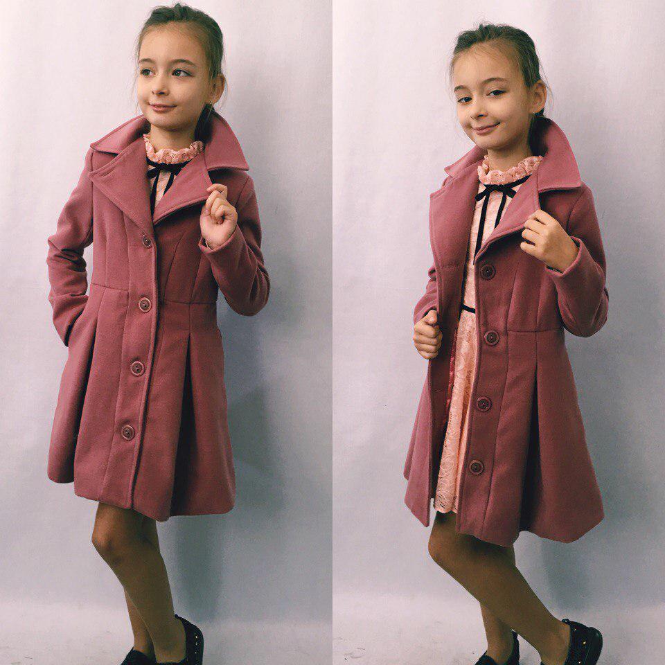 """Детское кашемировое пальто для девочки """"Ninnel"""" с карманами (3 цвета)"""
