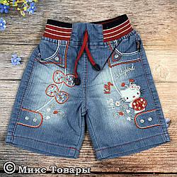 Джинсові шорти з кішечкою для дівчаток Розміри:86,92,98,104 см (6269)