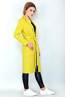 Стильное женское пальто лимонного цвета