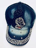 Джинсовая кепка стразы «Микки Маус» для девочек р-р 48-50 см