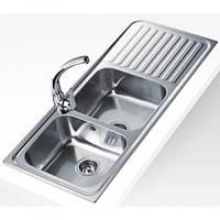 Кухонная мойка Teka из нержавеющей стали, микротекстура, врезная, 116х50см CLASSIC 2B 1D 10119051 Тека, фото 1