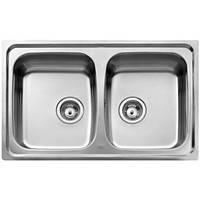Двойная кухонная мойка Teka из нержавеющей стали, матовая, врезная, 79х50см Basico 79 2B 11124025 Тека, фото 1
