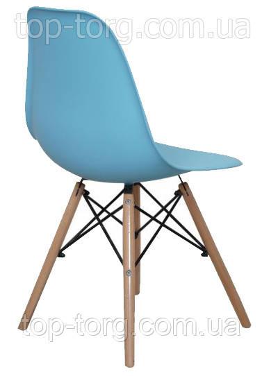 Стул  DS-913 ENZO blue голубой, деревянные ножки на стальных стержнях (спицах)