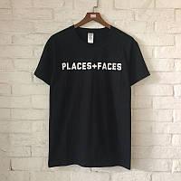 Футболка Places + Faces, черная с логотипом, унисекс (мужская, женская, детская)