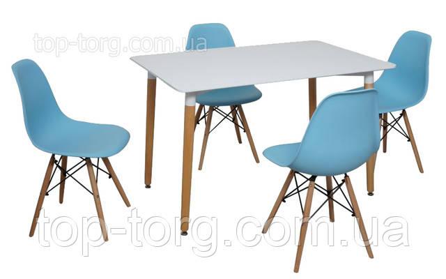 Стільці DS-913 ENZO blue блакитний колір, поліпропілен, дерев'яні ніжки на сталевих стрижнях (спицях)