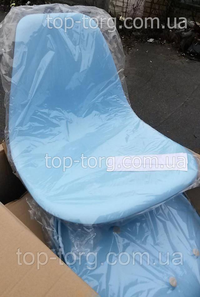 Фото стул DS-913 ENZO blue голубой полипропилен с деревянными ножками, в упаковке