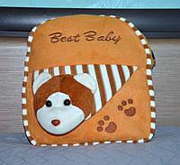 Миловидный плюшевый дошкольный детский рюкзак Best-Bady светло-коричневый, c игрушкой мишка