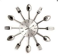 """Настенные часы на кухню """"Ложки-вилки"""" (37х37 см) [Металл]"""