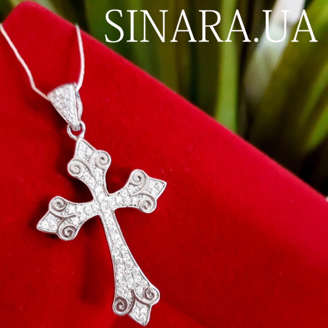 Серебряный крестик с камнями женский - Срібний хрестик з камінчиками