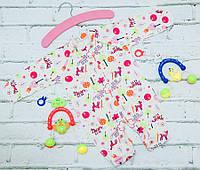 Человечек для новорожденного с закрытой ручкой Колыбелька (62 см) интерлок цветной