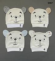 """Шапочка """"Медвежонок"""" для малыша. 36-42 см"""