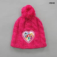 """Вязаная шапка """"Принцессы"""" для девочки. 40-47 см"""